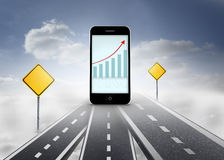 Composite image of arrows and barchart on smartphone screen Royalty Free Stock Photo