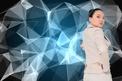 Composite image of asian businesswoman pointing Royalty Free Stock Photos