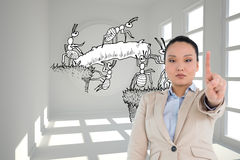 Composite image of asian businesswoman pointing Stock Photo