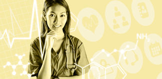 Composite image of asian nurse with stethoscope looking at the camera. Asian nurse with stethoscope looking at the camera against medical icons royalty free stock photography