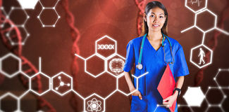 Composite image of asian nurse with stethoscope looking at the camera. Asian nurse with stethoscope looking at the camera against medical icons royalty free stock image