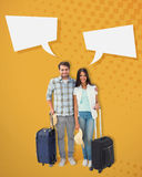 Composite image of attractive young couple going on their holidays Royalty Free Stock Images