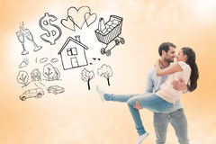 Composite image of attractive young couple having fun Stock Photos