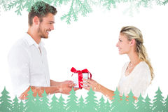 Composite image of attractive young couple holding a gift Royalty Free Stock Photo