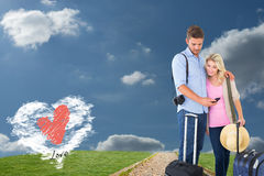 Composite image of attractive young couple ready to go on vacation Stock Images