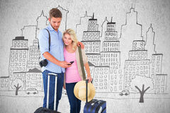 Composite image of attractive young couple ready to go on vacation royalty free stock photography