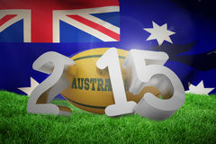 Composite image of australia rugby 2015 message. Australia rugby 2015 message  against close-up of australian flag Royalty Free Stock Image