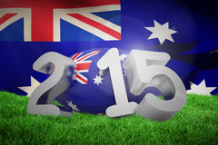 Composite image of australia rugby 2015 message. Australia rugby 2015 message  against close-up of australian flag Stock Photography