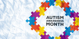 Composite image of autism awareness month. Autism awareness month against crumpled white page royalty free illustration