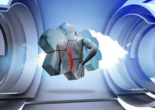 Composite image of back injury diagram on abstract screen. Back injury diagram on abstract screen against cloud in a futuristic structure Royalty Free Stock Images