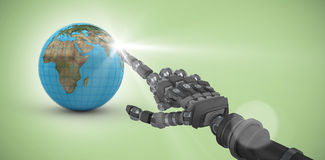 Composite image of back robot arm pointing at something Royalty Free Stock Photos