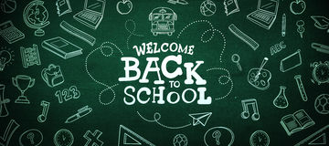 Composite image of back to school. Back to school against green Royalty Free Stock Image