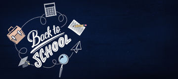 Composite image of back to school. Back to school against navy blue Stock Images