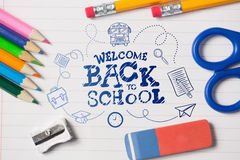 Composite image of back to school. Back to school against notepad and school work supplies vector illustration