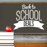 Composite image of back to school deals message Royalty Free Stock Photography