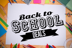 Composite image of back to school deals message Royalty Free Stock Photos