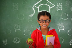Composite image of back to school doodle. Back to School doodle against young girl in glasses holding apple and books Royalty Free Stock Images