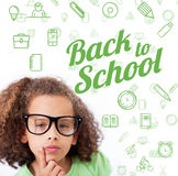 Composite image of back to school message with icons Stock Image