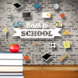Composite image of back to school message with icons Royalty Free Stock Photo