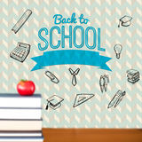 Composite image of back to school message with icons Stock Images