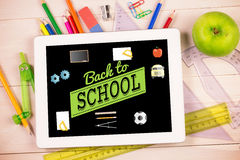 Composite image of back to school message with icons Stock Photography