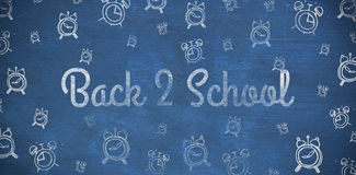 Composite image of back to school text against white background. Back to school text against white background against blue background Stock Photos