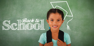 Composite image of back to school text against white background. Back to school text against white background against young girl with bagpack against chalk board Stock Images