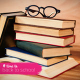 Composite image of back to school text with hashtag Royalty Free Stock Photography