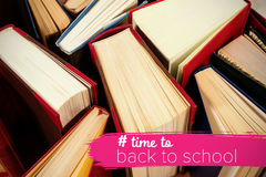 Composite image of back to school text with hashtag. Back to school text with hashtag against various hardcover book Royalty Free Stock Images