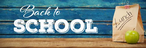 Composite image of back to school text over white background Stock Images
