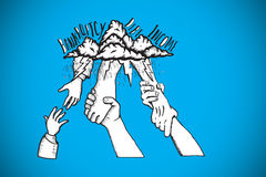 Composite image of bankruptcy and debt doodle with helping hands. Bankruptcy and debt doodle with helping hands against blue background with vignette Stock Photography