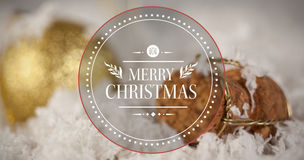 Composite image of banner and logo saying merry christmas Royalty Free Stock Photography