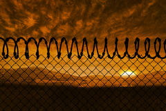 Composite image of barbed wire fence by white background 3d Stock Images