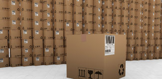 Composite image of barcode and recycle icon on packed cardboard box Royalty Free Stock Photography