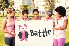 Composite image of battle text with female likeness and breast cancer awareness ribbon Royalty Free Stock Images