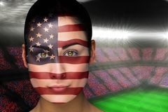 Composite image of beautiful america fan in face paint Royalty Free Stock Photography