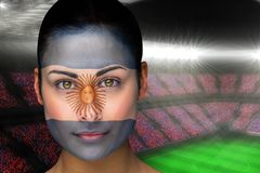 Composite image of beautiful argentina fan in face paint Stock Images
