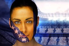 Composite image of beautiful bosnia fan in face paint Royalty Free Stock Photos