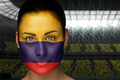 Composite image of beautiful colombia fan in face paint Stock Image