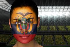 Composite image of beautiful ecuador fan in face paint Stock Photography