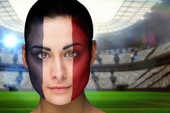 Composite image of beautiful france fan in face paint Stock Photography
