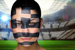 Composite image of beautiful greece fan in face paint Royalty Free Stock Photos