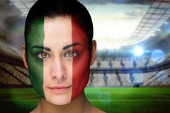 Composite image of beautiful italy fan in face paint Stock Photography