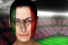 Composite image of beautiful mexico fan in face paint Stock Photo