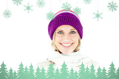 Composite image of beautiful young woman with cap in the winter smiling at the camera Stock Photos