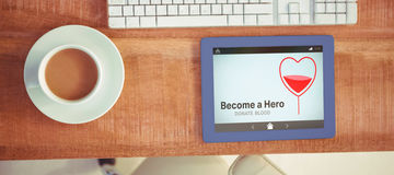 Composite image of become a hero text with heart shape on screen Royalty Free Stock Photography
