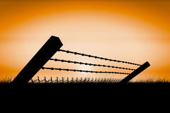 Composite image of bended barbed wire and chainlink fence against white background 3d Stock Photo