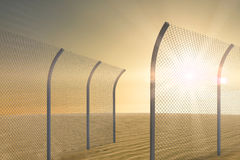 Composite image of bended chainlink fence 3d Royalty Free Stock Photos