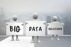 Composite image of big data solutions. Big data solutions against city scene in a room Royalty Free Stock Photo