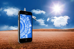 Composite image of binary code on smartphone screen. Binary code on smartphone screen against 3d plane flying over field Royalty Free Stock Photos